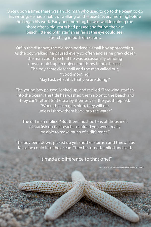 Starfish Make A Difference Photograph