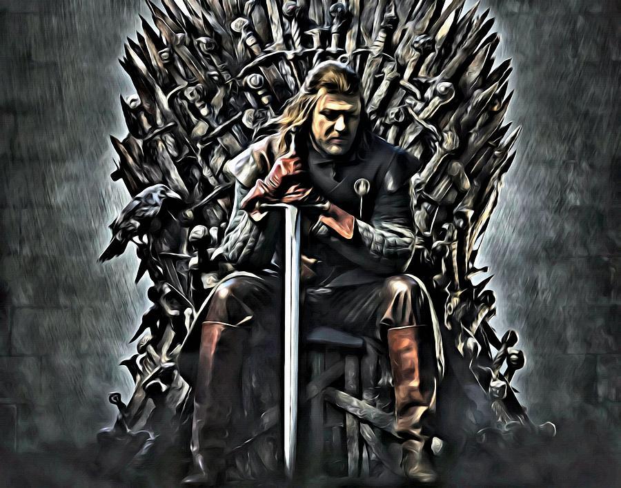 Stark on the iron throne by florian rodarte for Iron throne painting