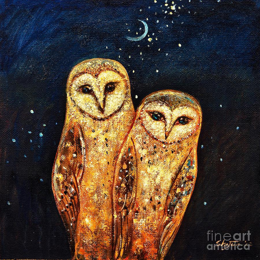 Owl Painting - Starlight Owls by Shijun Munns