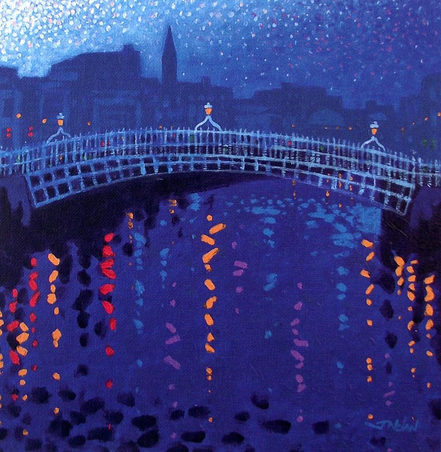 Acrylic Painting - Starry Night In Dublin by John  Nolan