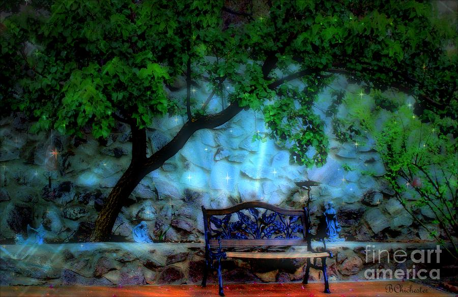 Starry Night In The Magical Garden Digital Art  - Starry Night In The Magical Garden Fine Art Print
