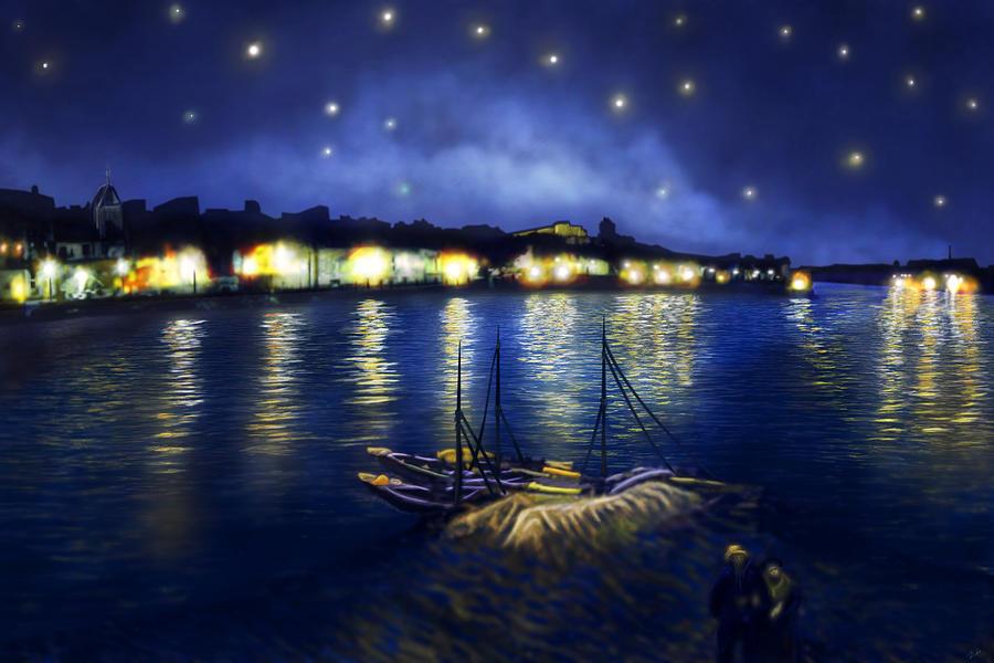Van gogh 39 s starry night over the rhone digital art by omar for Starry night over the rhone hd