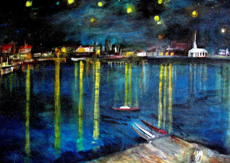 Rick Todaro Paintings Painting - Starry Night Over The Rhone River by Rick Todaro
