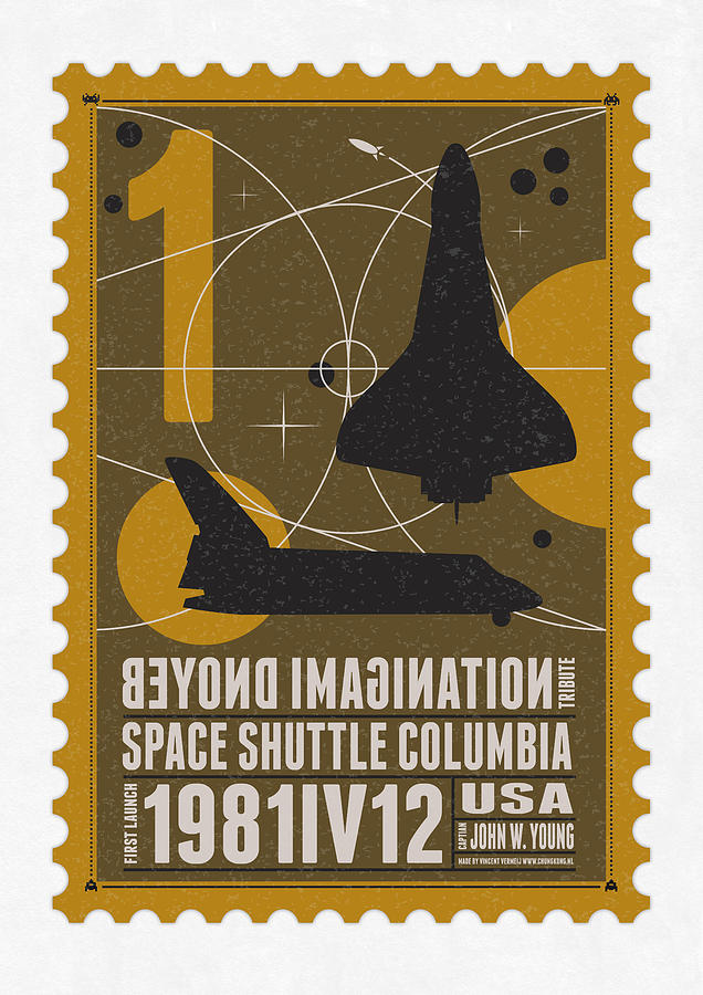 Starschips 01-poststamp - Spaceshuttle Digital Art  - Starschips 01-poststamp - Spaceshuttle Fine Art Print