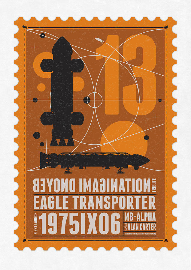 Starschips 13-poststamp - Space 1999 Digital Art  - Starschips 13-poststamp - Space 1999 Fine Art Print
