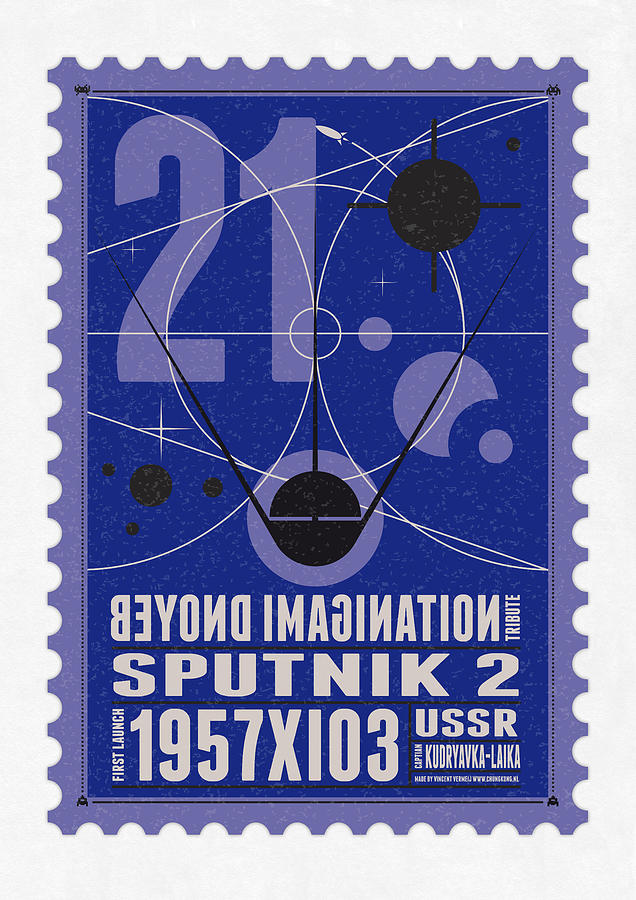 Starschips 21- Poststamp - Sputnik 2 Digital Art