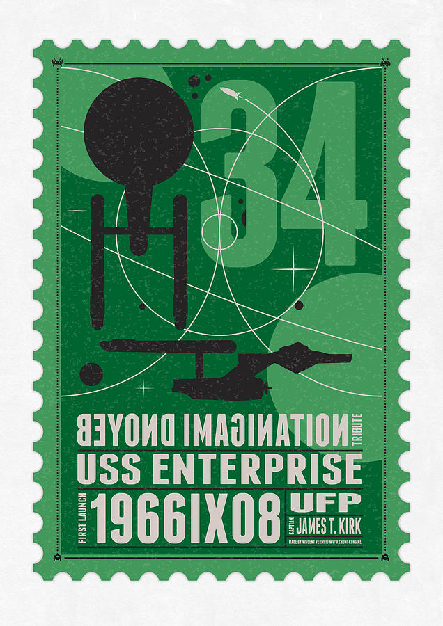 Starschips 34-poststamp - Uss Enterprise Digital Art