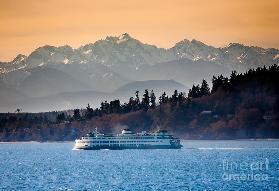 State Ferry And The Olympics Photograph  - State Ferry And The Olympics Fine Art Print