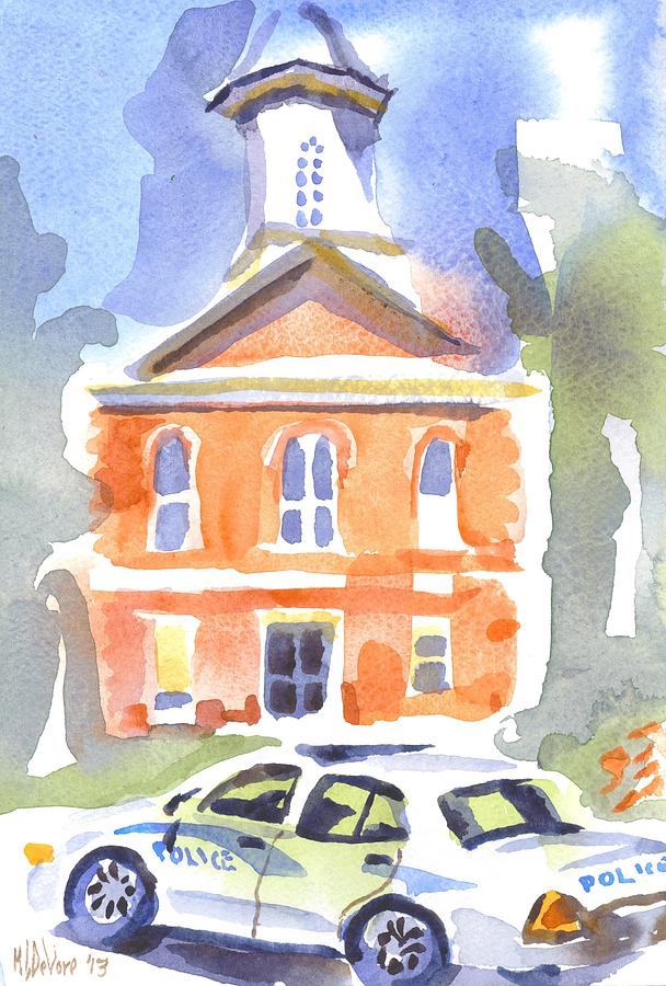 Stately Courthouse With Police Car Painting  - Stately Courthouse With Police Car Fine Art Print