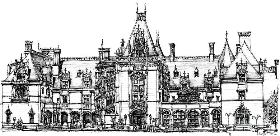 Biltmore Drawing - Stately Home In Ink by Adendorff Design