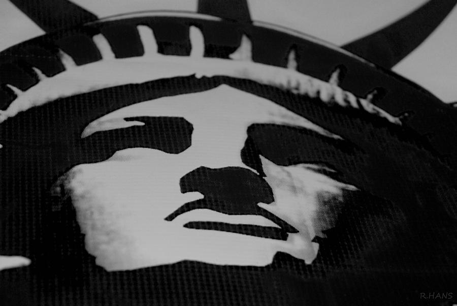 Statue Of Liberty In Black And White Photograph