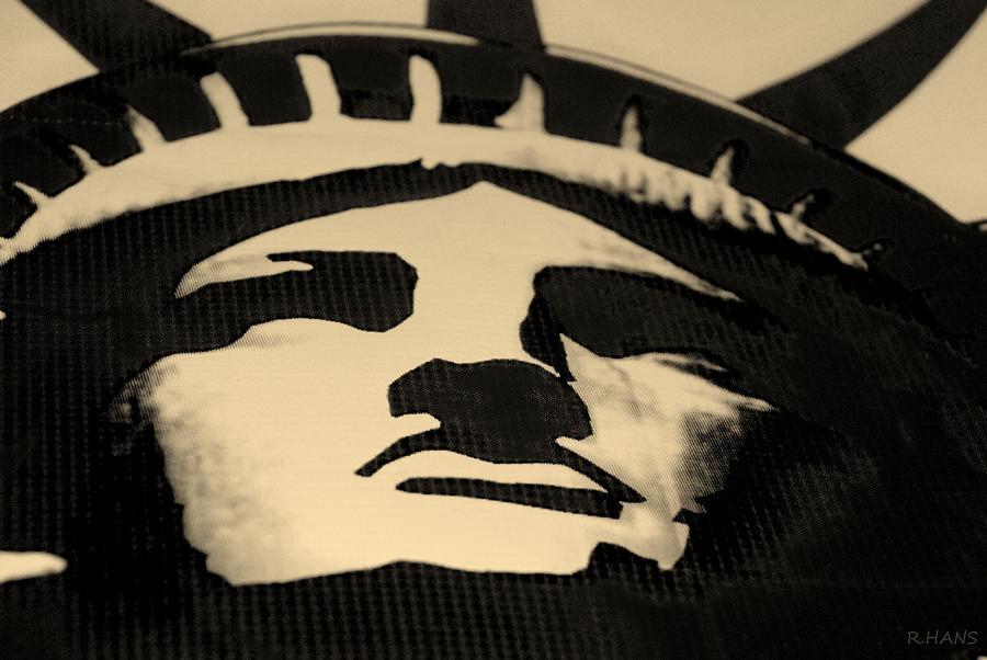 Statue Of Liberty In Dark Sepia Photograph