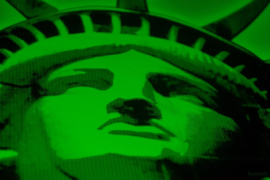 Statue Of Liberty In Green Photograph