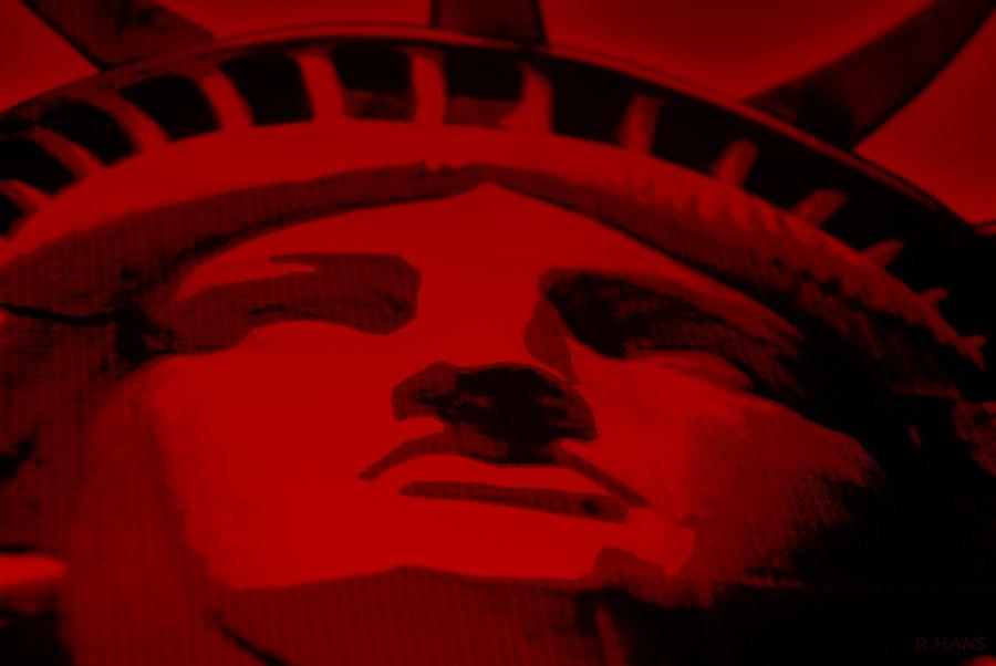 Statue Of Liberty In Red Photograph