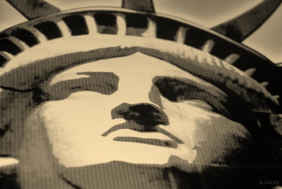 Statue Of Liberty In Sepia Photograph