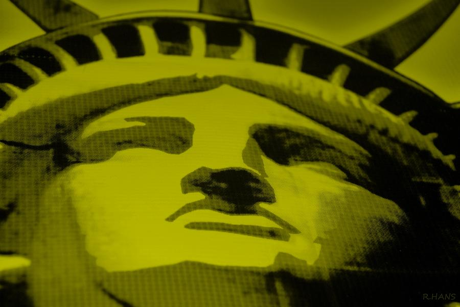 Statue Of Liberty In Yellow Photograph