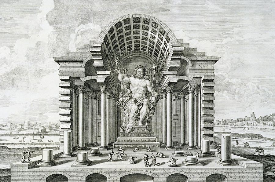 Male Drawing - Statue Of Olympian Zeus by Johann Bernhard Fischer von Erlach