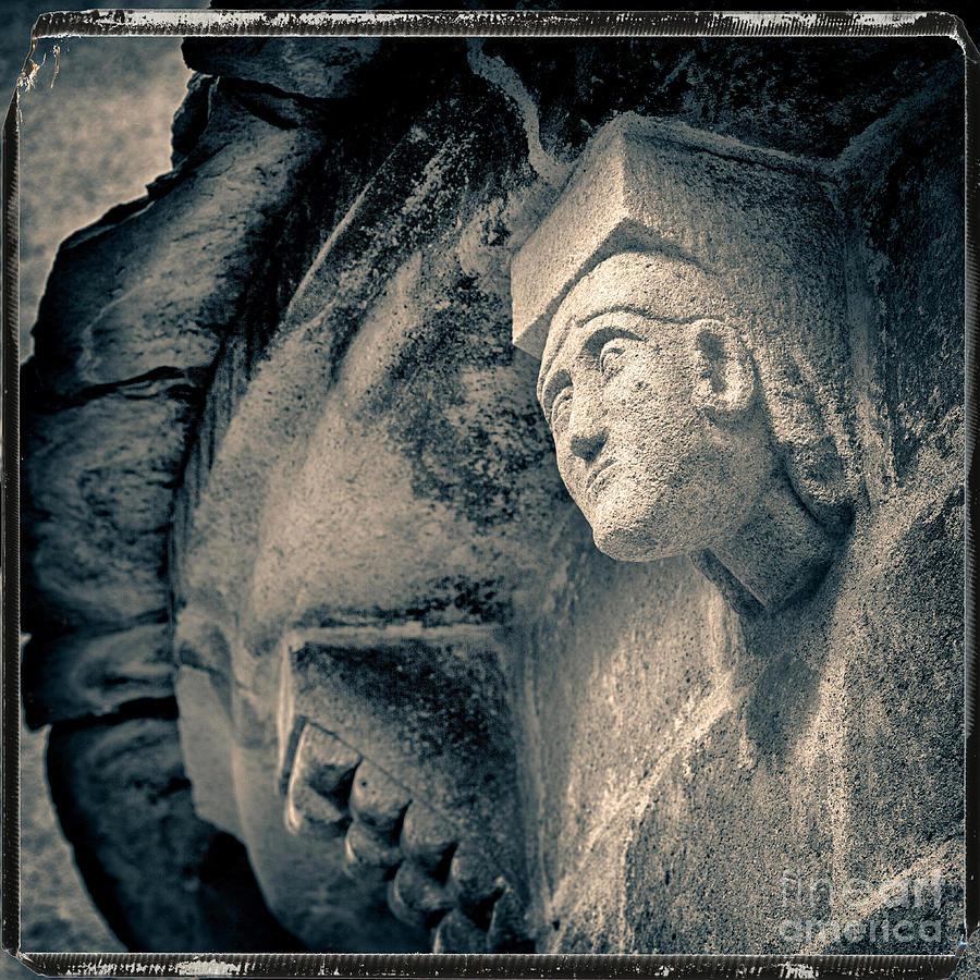 Carving Photograph - Statue On A Romanesque Church In Auvergne by Bernard Jaubert