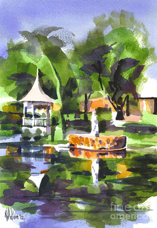 Statue On Pond With Gazebo Painting  - Statue On Pond With Gazebo Fine Art Print