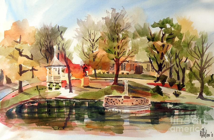 Ste. Marie Du Lac With Gazebo And Pond I Painting  - Ste. Marie Du Lac With Gazebo And Pond I Fine Art Print