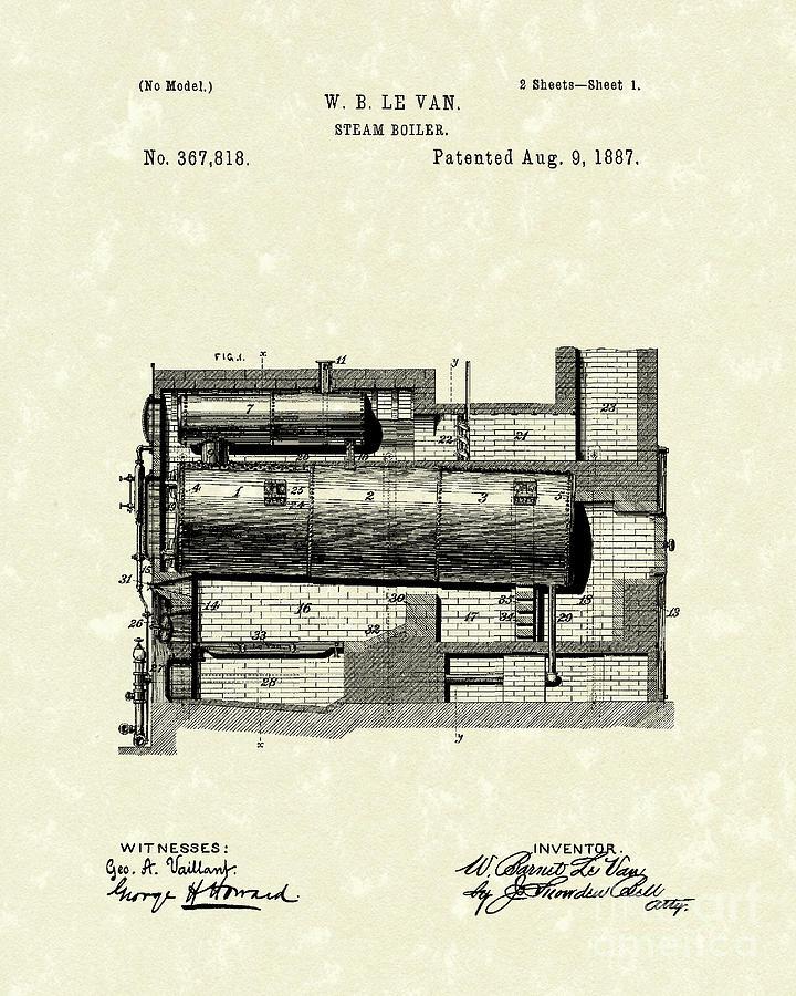 Steam Boiler 1887 Patent Art Drawing