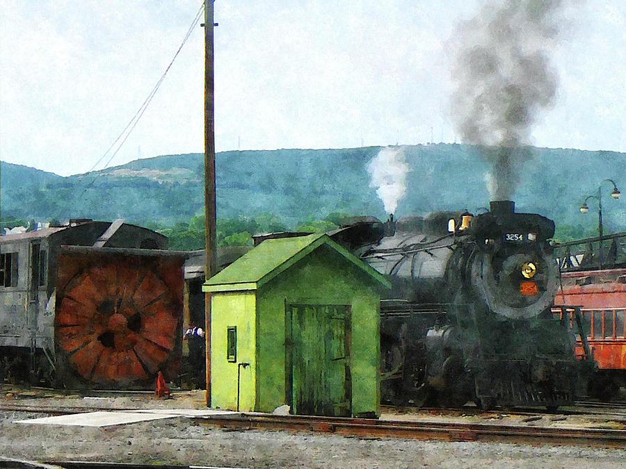 Steam Locomotive 3254 Coming Into Train Yard Photograph