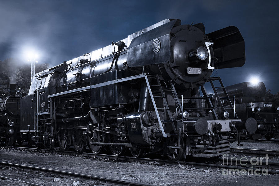 Steam Train In The Night II. Photograph  - Steam Train In The Night II. Fine Art Print