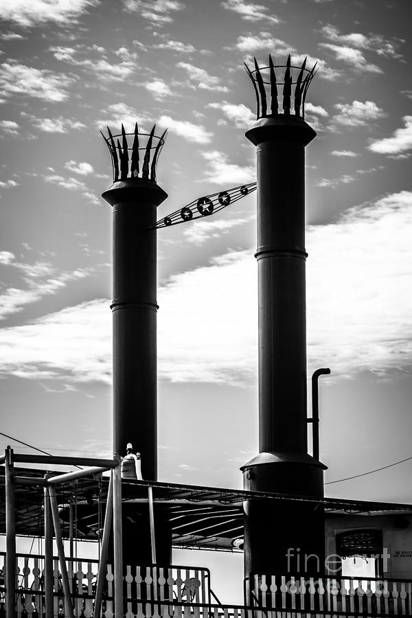 Steamboat Smokestacks Black And White Picture Photograph