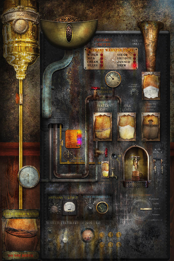 Steampunk - All That For A Cup Of Coffee Digital Art  - Steampunk - All That For A Cup Of Coffee Fine Art Print