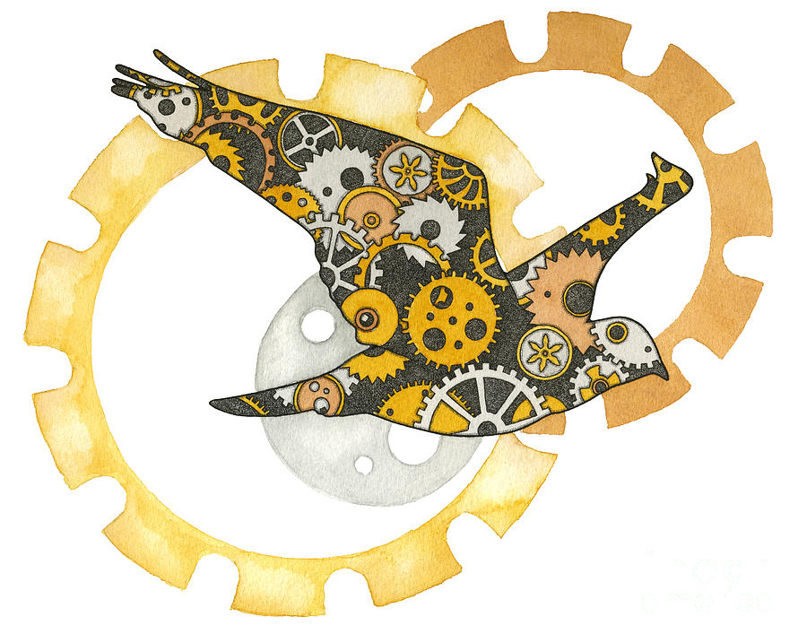 Steampunk Bird Painting  - Steampunk Bird Fine Art Print