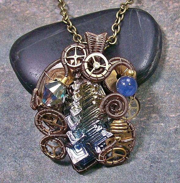 Steampunk Bismuth Swarovski Crystal And Kyanite Pendant In Bronze Stmbsm7 Jewelry