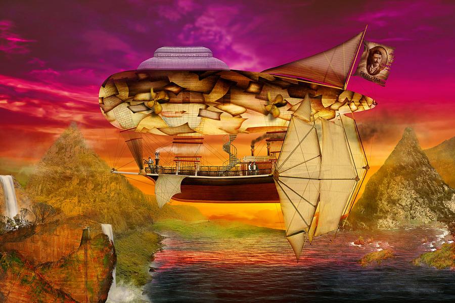 Self Digital Art - Steampunk - Blimp - Everlasting Wonder by Mike Savad