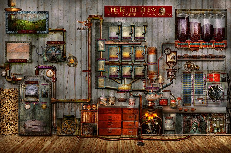Steampunk - Coffee - The Company Coffee Maker Digital Art