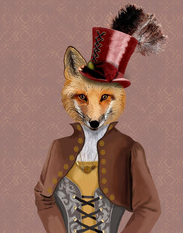 Steampunk Framed Prints Digital Art - Steampunk Fox Vivienne Fox by Kelly McLaughlan