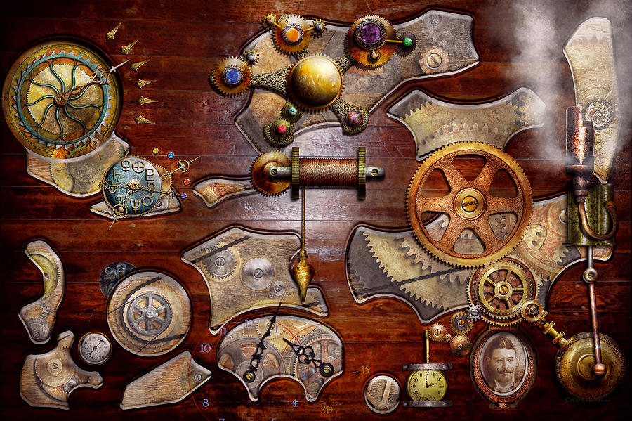 Savad Photograph - Steampunk - Gears - Reverse Engineering by Mike Savad