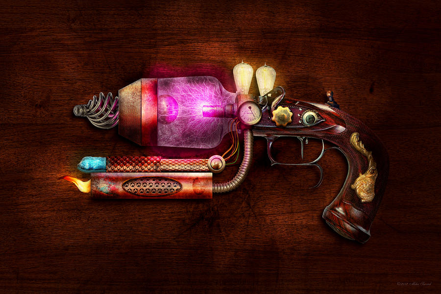 Steampunk Digital Art - Steampunk - Gun -the Neuralizer by Mike Savad
