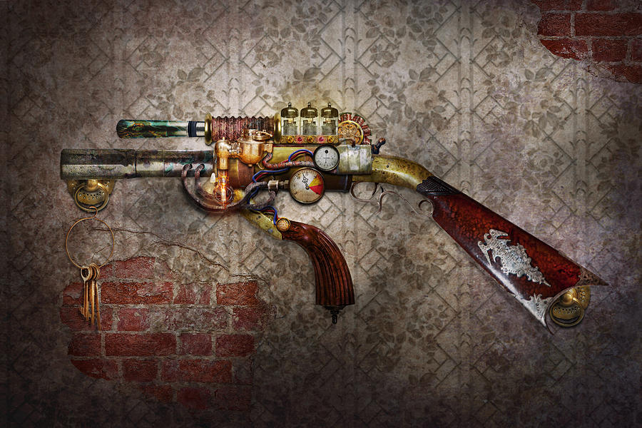 Steampunk - Gun - The Sidearm Photograph  - Steampunk - Gun - The Sidearm Fine Art Print