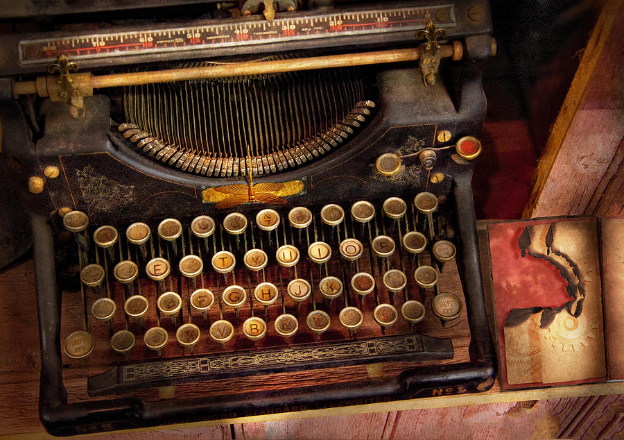 Hdr Photograph - Steampunk - Just An Ordinary Typewriter  by Mike Savad