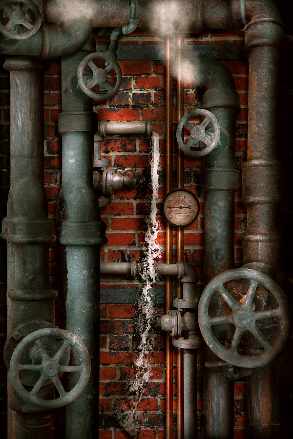 Steampunk Plumbing Pipes And Valves Digital Art By