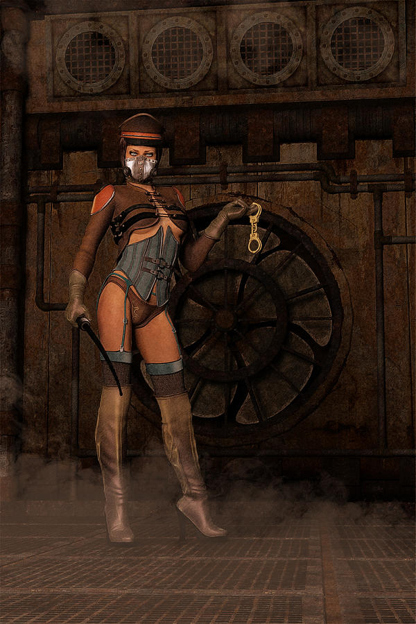Steampunk Sally - Dominatrix Digital Art  - Steampunk Sally - Dominatrix Fine Art Print