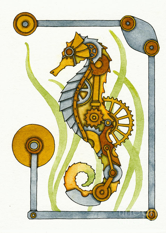 Seahorse Painting - Steampunk Seahorse by Nora Blansett