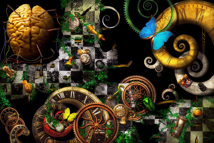 Self Digital Art - Steampunk - Surreal - Mind Games by Mike Savad