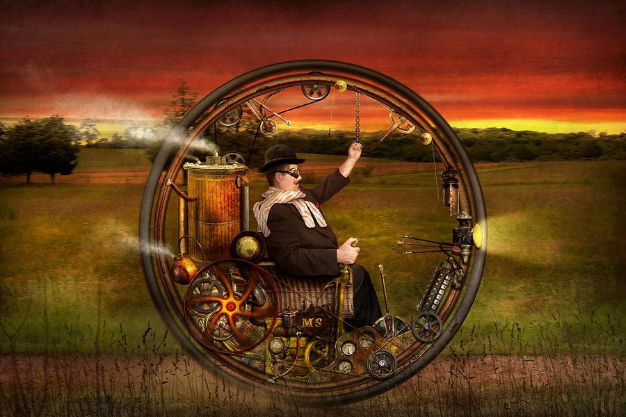 Steampunk - The Gentlemans Monowheel Digital Art