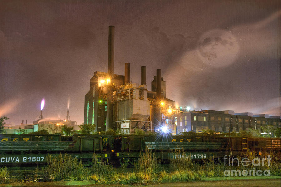 Steel Mill At Night Photograph