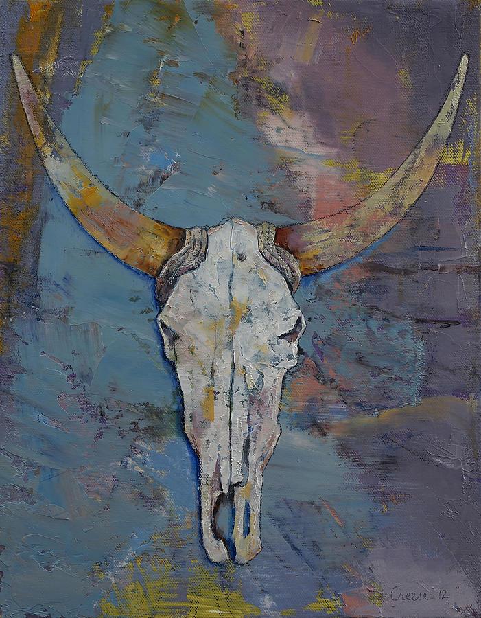 Steer Painting - Steer Skull by Michael Creese