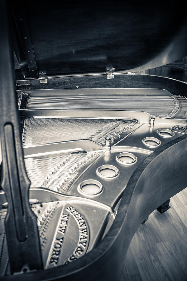 B&w Photograph - Steinway by Carrie Cole