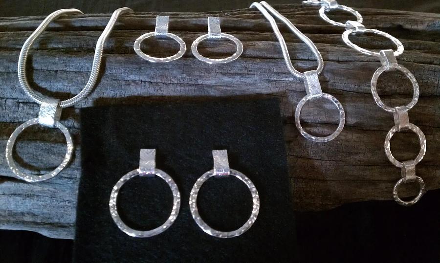 Sterling Silver Circles Bracelet Pendant Earrings Jewelry