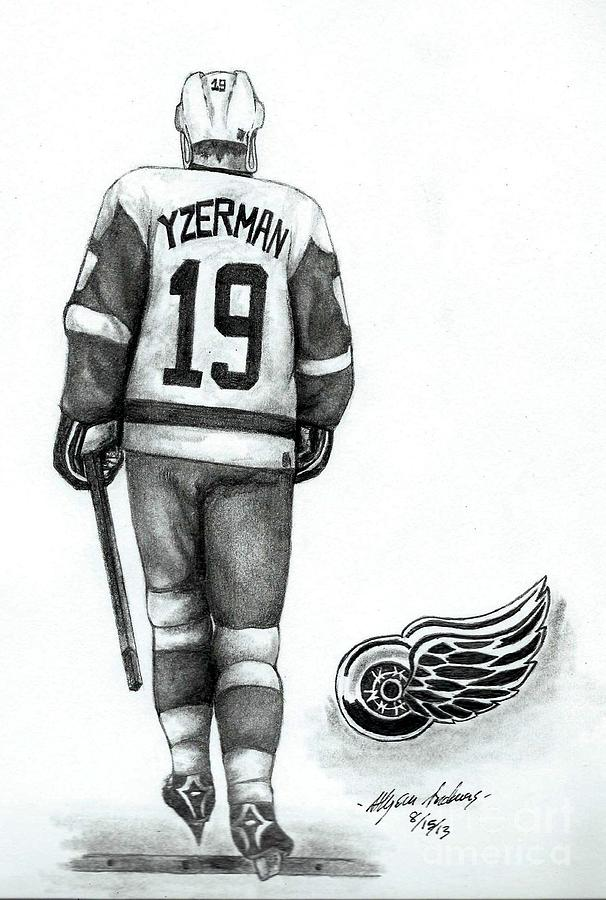 Steve Yzerman Drawing by Allyson Andrewz