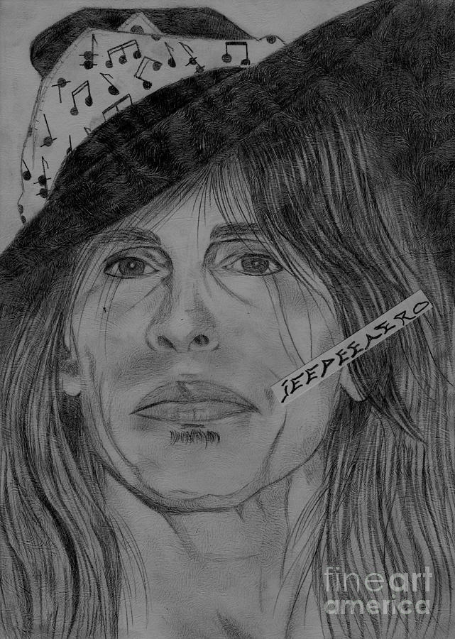 Steven Tyler Portrait Drawing Drawing  - Steven Tyler Portrait Drawing Fine Art Print