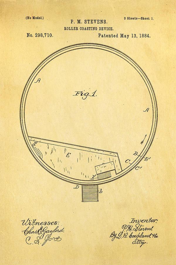 Stevens Roller Coaster Patent Art 1884 Photograph